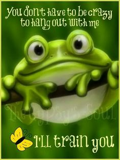 """A cute frog with buggy eyes is smiling as it hangs on a tree branch surrounded by the words """"Good Morning, Have a Happy Day. Funny Frogs, Cute Frogs, Cute Quotes, Funny Quotes, Funny Memes, Happy Quotes, Hilarious, Good Morning Good Night, Good Morning Quotes"""