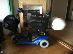 For Sale in Sweden: only 7 or 8 months old, but I have a larger permobil now. Must sell this cute little Shoprider now.  Eloped Shoprider with extras:  Battery upgrade: Stay charged & never run out juice Lock Box: keep your items safer Cane holder  Fits down shop aisles...