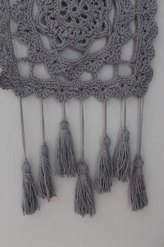 Items similar to Crochet Wall Hanging//Handmade//Cotton Yarn//Boho//Tassels//Dream Catcher//Gray on Etsy Tassel Necklace, Crochet Necklace, Diy Crochet Patterns, Crochet Wall Hangings, Dream Catcher, Stitches, Tassels, Texture, Boho