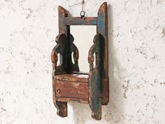 We simply love the decorative design features of this small wall vintage shaving mirror. Originally from Northern India, the mirror is framed in a wonderful ornate wooden handcrafted structure with a lovely wood patina. Shabby Chic Mirror, Rustic Mirrors, Rustic Walls, Vintage Shabby Chic, Floor Mirror, Vintage Valentines, Candle Sconces, Shaving, India