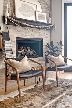 The Lento chair looks like a musician that aged really, really well. Photo by Maggie Miller Interiors. #LeatherChair #BlackLeatherChair #ModernChair Boho Accent Chair, Small Accent Chairs, Black Leather Chair, Leather Lounge, Living Room Remodel, Living Room Decor, Living Rooms, Small Luxury Homes, Black Fireplace