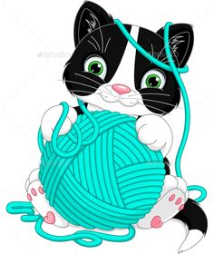 Buy Kitten with Yarn Ball by Platinka on GraphicRiver. Cheerful kitten playing with yarn ball, EPS JPG (high resolution) Rabbit Vector, Owl Vector, Tag Png, Easter Bunny Colouring, Shark Coloring Pages, Butterfly Sketch, Kitten Drawing, Yarn Painting, Yarn Ball