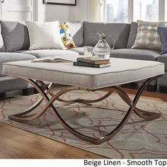 Solene X Base Square Ottoman Coffee Table - Champagne Gold by iNSPIRE Q Bold ([Beige Linen]- Smooth Top), Size Large (Fabric)