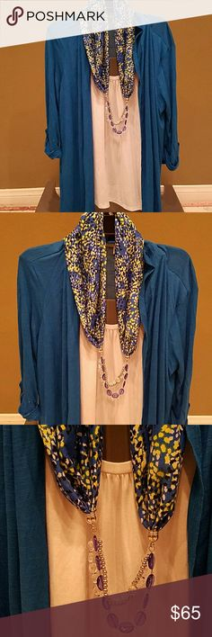 Notations blouse w/cardigan and scarf/necklace Lg Like new condition WOW this is so gorgeous and cool at the same time all is connected blouse and cardigan all one piece to create a two piece look then scarf is detachable in the back and bottom of scarf has beads for the look of a necklace but all one piece Notations Sweaters Cardigans