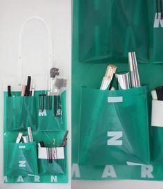 DIY makeup storage using a bag