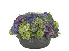 Hydrangea, Snowball (PF256): Hydrangea, Purple Green, Textured Ceramic Bowl , 20wx20dx14h
