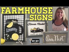 In this DIY you will learn how easy and cheap it is to create Custom Farmhouse Signs, using mostly Dollar Tree items, no need to have fancy equipment or deca. Dollar Tree Decor, Dollar Tree Crafts, Homemade Wall Decorations, Room Decorations, Lemonade Sign, Chalkboard Mason Jars, Farmhouse Signs, Farmhouse Decor, Farmhouse Frames