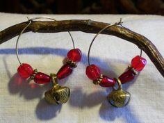 Crimson Bell Earrings by ShamamasTreasures on Etsy