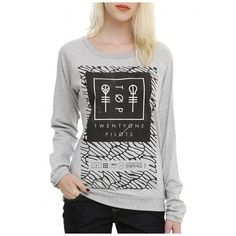 Twenty One Pilots Pattern Logo Print Grey Long Sleeve Cute Pullovers... ($32) ❤ liked on Polyvore featuring tops, hoodies, sweatshirts, print pullover, grey pullover, long sleeve pullover, long sleeve sweatshirt and grey top