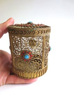 Vintage Bohemian Filigree Container Brass with Turquoise and Coral Glass Tribal Ethnic 1940s Jackpot Jen on Etsy by JackpotJen on Etsy
