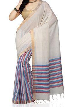 White and Aqua Color Mangalagiri Saree by UppadaPattu on Etsy