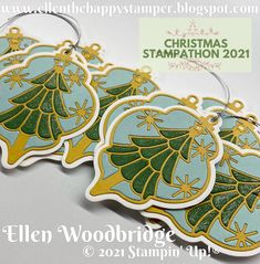 Ellen Woodbridge Independent Stampin' Up!® Demonstrator - Central Coast NSW Australia: Stampin' Up! Delicate Baubles with Wink of Stellar Inlay Christmas Tags