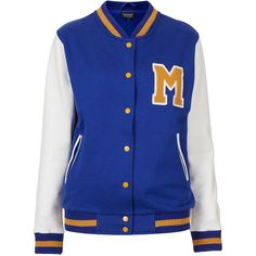 TOPSHOP M Jersey Varsity Bomber Jacket ($70) ❤ liked on Polyvore featuring outerwear, jackets, tops, varsity jackets, casacos, blue, varsity style jacket, blue bomber jacket, varsity-style bomber jacket and blue varsity jacket