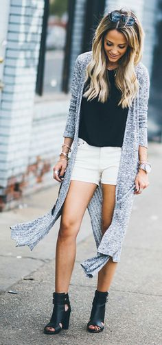 Pair your long cardigan with cute white shorts and heels for an effortlessly cool look. Via Megan Anderson.  Cardigan: Windsor, Shorts: J Crew, Shoes: Zara.