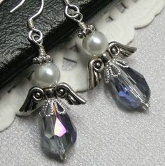 Angel Earrings Black Diamond crystal by Creationsbygmarie2 on Etsy