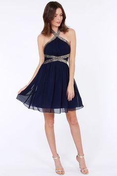 Little Mistress Hem and Awe Navy Blue Sequin Dress at Lulus.com!