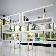 Pearl Bookcase in White Lacquer