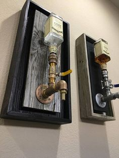 Brass Wall Mount Liquor Dispenser Handmade dispenser With ALL BRASS leadfree fittings, Backing finish out of weathered gray Reclaimed wood with Black Also offered in Black display with White inner All come with multi colored LED lights to match - d Alcohol Dispenser, Wine Dispenser, Liquor Bottles, Messing, Bars For Home, Home Projects, Diy Projects To Sell, Diy Furniture, Furniture Logo