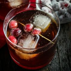 Cranberry-Ginger Rum Cocktail with Sparkling Apple Cider. Festive and fizzy holiday drink!