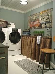 Laundry room- Love the idea of a narrow shelf/counter
