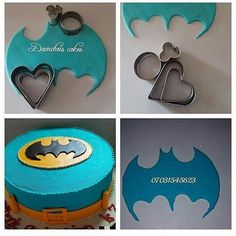 Batman cutouts from heart cookie cutters Batman cutouts from h. - Batman cutouts from heart cookie cutters Batman cutouts from heart cookie cutters - Cake Decorating Techniques, Cake Decorating Tutorials, Cookie Decorating, Cake Decorating With Fondant, Fondant Toppers, Fondant Cakes, Cupcake Cakes, Bolo Naruto, Decors Pate A Sucre