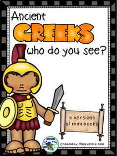 Kindergarten Emergent Reader Book about ancient greek mythology It includes 4 versions (colored, black & white, with questions & answers, with simple sentences). The ancient greek characters are: Hercules Achilles Odysseus Orpheus Perseus Icarus Pegasus Arachne Pandora Persephone Greek Soldier