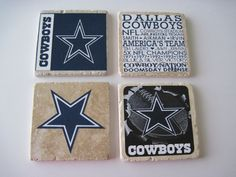 Dallas Cowboys Football Coasters - Set of 4 by YouWillLovett on Etsy https://www.etsy.com/listing/213845030/dallas-cowboys-football-coasters-set-of