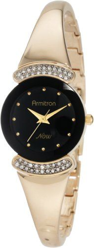 #Armitron #NOW Women's 75/3870BKGP Swarovski Crystal Accented Gold-Tone Bangle Bracelet #Watch       Expensive looking watch       http://amzn.to/HH6zxz