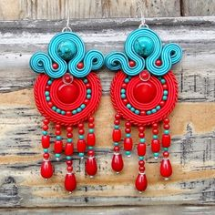 Rudo II soutache earrings with turquoise and coral from ~ Blue Butterfly ~ by DaWanda.com