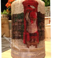 Christmas decoupaged book folded pillar
