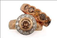GALACIA DESIGNER JEWELRY- Brown and white diamonds set in white and rose gold completed with hand engraved shanks.