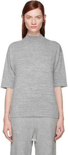 Hyke - Grey Mock Neck T-Shirt