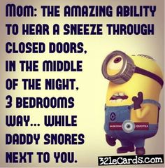 Minion, Mom, Dad, snores 。◕‿◕。 See my Despicable Me  Minions pins https://www.pinterest.com/search/my_pins/?q=minions