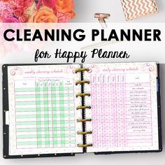 Cleaning Schedule and Home Organizer Planner Printables sized for Happy Planner! The Cleaning Planner Printable is designed to guide you in a deep clean, as well as assist with your regular housekeeping routine. Use the deep cleaning guide as a cleaning checklist for a total sweep down of your home. Use the Chore Tracker as a cleaning printable for your kids to track responsibilities and rewards for accomplishing chores. https://www.etsy.com/listing/518509877