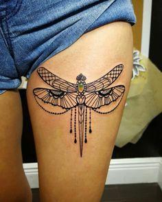 Gemstone dragonfly tattoo by Lola