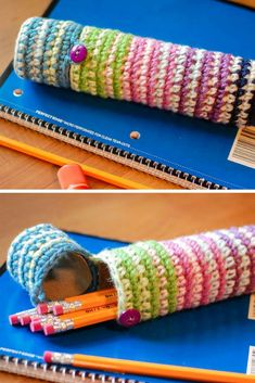 Crochet Case for Pencils - Perfect for Back to School Crochet Pencil Case, Zipper Pencil Case, Diy Pencil Case, Crochet Case, Leather Pencil Case, Pencil Pouch, Diy Crochet, Crochet Ideas, Craft Projects For Kids