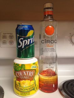 "Peach Ciroc, Country Time Lemonade and Sprite-- you can't even taste the alcohol. I call it, ""Summer Peach"" lol"