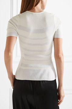 Narciso Rodriguez - Striped Ribbed-knit Top - White - IT