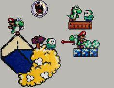 Perler Yoshi Island (Grand Yoshi / Nuage + Pièce + Yoshi / Mario bébé + Yoshi / Maskass)