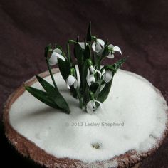 1:12 Dollhouse scale paper snowdrops in a snow covered plant pot..  Steps are described well.  Should be east to follow instructions.
