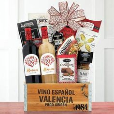 Wine Gift Baskets - Spanish Wine Gift Basket Chocolate Hazelnut, Walnut Cookies, Wafer Cookies, Spanish Red Wine, Spanish Style, Tapas, Wine Gift Baskets, Stone Fruit