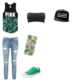 """Untitled #140"" by emmi-coconuthead ❤ liked on Polyvore featuring Victoria's Secret, Charlotte Russe, Current/Elliott, Converse and Casetify"