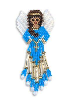 Zaniel - Teen Angel by Rita Sova Seed Bead Patterns, Peyote Patterns, Beading Patterns, Seed Bead Earrings, Beaded Earrings, Beaded Jewelry, Vintage Illustration, Seed Bead Projects, Beaded Angels