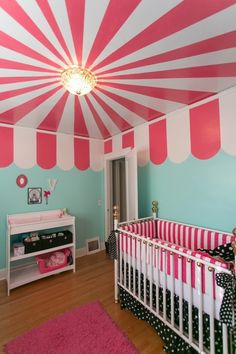 painted ceilings, adorable nursery! Do for circus themed