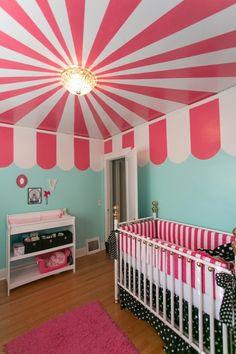 painted ceilings, adorable nursery!