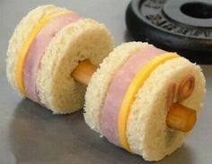 Ham & Cheese Dumbbell Weights-use string cheese or carrot for bar