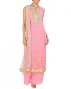 Baby Pink Chikankari Suit with Palazzo Pants by Bhumika Grover Shop Now: http://goo.gl/TBVGBX #Indianfashion #Colour #Bling #Luxury #LatestTrends #Fashion #DesignerWear #India #WideLegPants #Indian #Designer #Color #Desi #ExclusivelyIn #BhumikaGrover #Ethnic #Chic #Beautiful #Embroidery #BabyPink #Sequins #Zardozi #Gorgeous #Zari #Suits #Palazzo #Chikankari #FusionWear