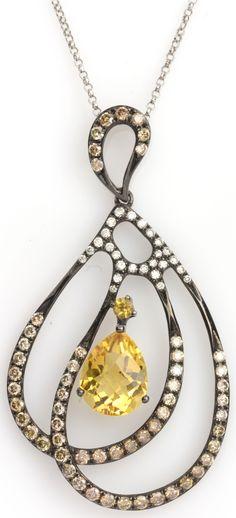 "Statement necklace - 1.05 ctw Citrine Checkerboard Pear Approx.wt. & 0.70 ctw Champagne & White Diamond Round 14K White & Black Rhodium Gold Pendant (1.75"") Length 16"