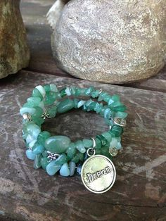 Coastal Dreams three wrap memory wire bracelet by DFInspirations, $30.00