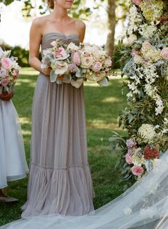Gray Chiffon Strapless Bridesmaids Dress | photography by http://carrie-patterson.squarespace.com/ | floral design by http://www.bearflagfarm.com/
